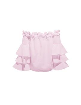 Grazia offshoulder tiered sleeves top pink