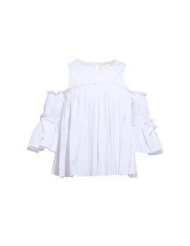 Celine cut out and pleat top White