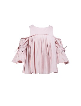 Celine cut out and pleat top pink