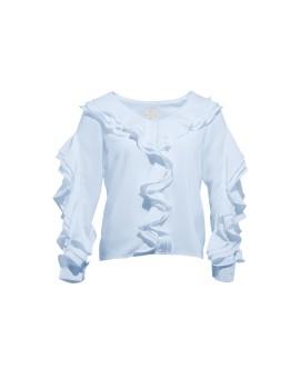 Megan frill split sleeves top Blue