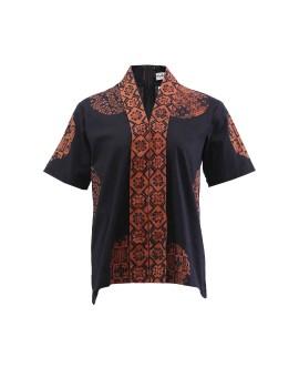 Batik Blouse in Kebaya Cut With Selampad Motif Black