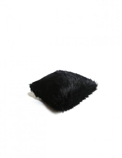 Faux Fur Pillow Case Black (L)