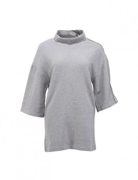 Stripe Texture Oversized Sweatshirt in Black