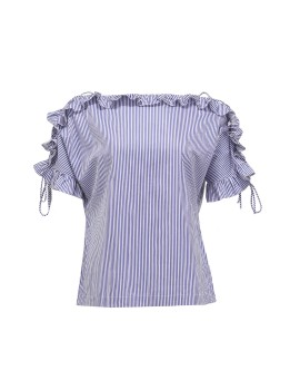 Strappy Ruffle Blouse in Blue