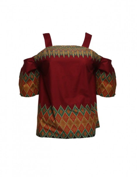 Zeuss Shoulder Top In Maroon