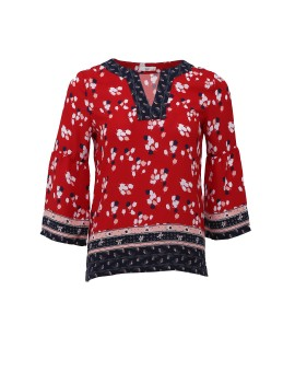AD MS 1026 Red Pattern Blouse