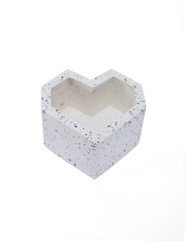 Heart White Glass Terrazzo