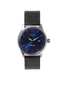 Mahameru Quartz Steel Case MH-017 Black Strap, Blue Sunburst Dial
