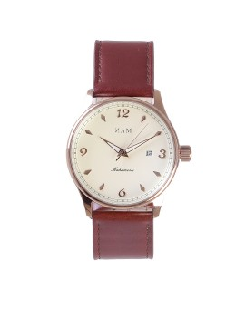 Mahameru Quartz Rosegold Case MH-028 Brown Strap, Cream White Dial