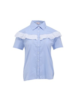 Shirt with Contrast Frill