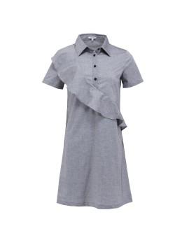Shirt Dress with Diagonal Frill