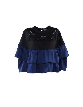 Butterfly Frill Top Black and Navy Blue