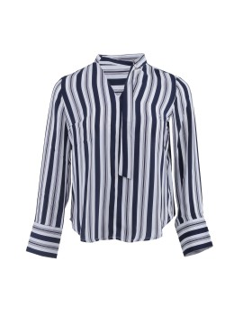 A&D Long Sleeve Blouse With Neck MS 1021 - White Stripe