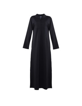 Black Button Abaya