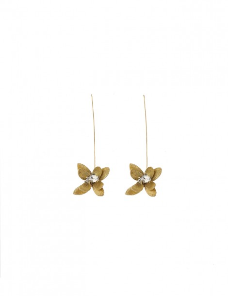 Long Earring flower with Raw pyrite stone