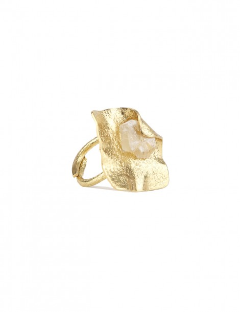 Ring Brass with raw crystal stone