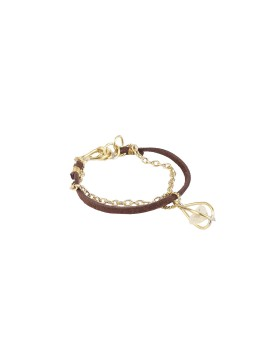 Bracelet brass and suede with charm crystal stone