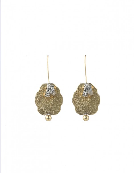 Long Earring with Raw pyrite stone