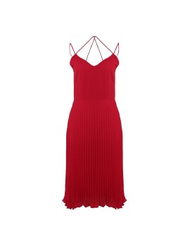Sweetheart Major Pleat Dress Red
