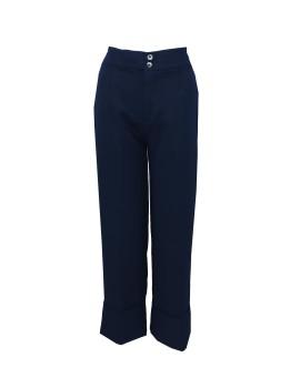 Miya Pants with Turn-Up Hem Navy