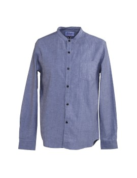 Band Collar Shirt Grey