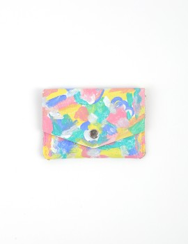 Hand - Painted Leather Wallet Colorful