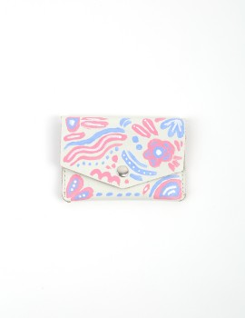 Hand - Painted Leather Wallet Pink Purple