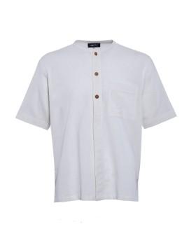 Linen Collarless Shirt