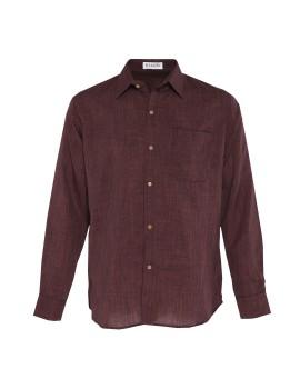 Long Sleeve Fiber Cotton Shirt Dark Brown