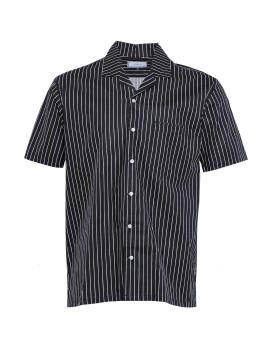 Camp Collar Short Shirt White on Black