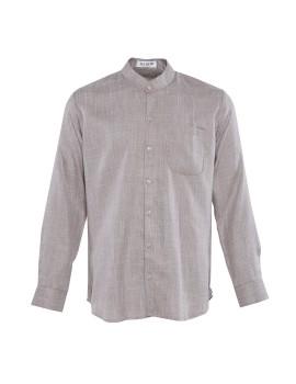Band Collar Linen Shirt Grey