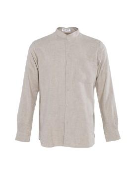 Band Collar Oxford Linen Shirt
