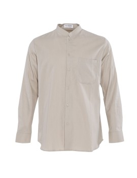 Band Collar Linen Shirt Cream