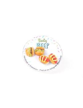 Micro Burger & Hotdog Earrings Set