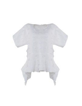 Offwhite Fringe Cut Out Top