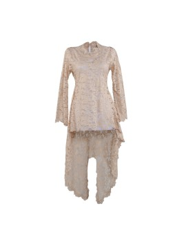 Kebaya Modern Brocade Short Front Long Back Beige