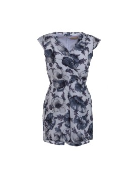 Kiara Playsuit Black White flower