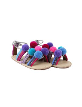 Bohemian PomPom Sandal Purple