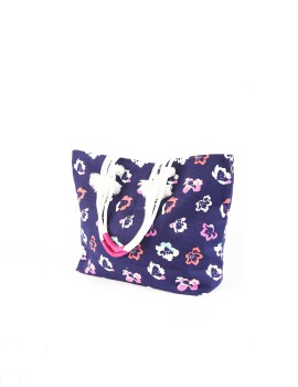 Floral Tote Bag Navy Blue
