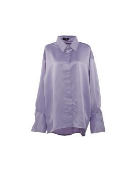 Gail Satin Cuff Blouse Lavender