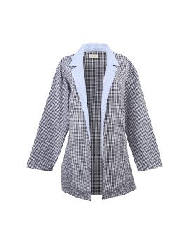 Gingham Buckle Blazer Blue Black