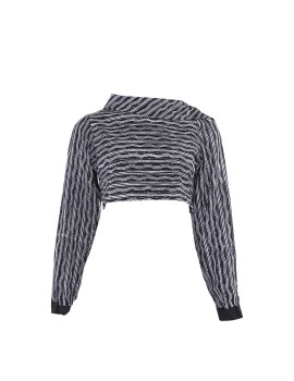 Long Sleeve Crop Top stripes Black & white