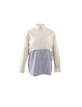 Edith Shirt Dark Creme & Grey