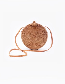 Rattan Round Bag Bow Closure