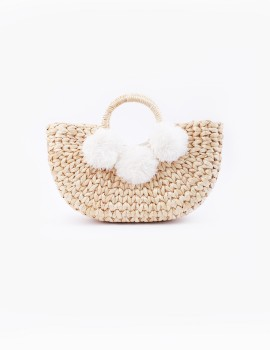 Water Hyacinth Basket Bag White
