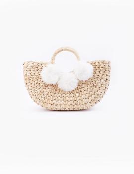 Water Hyacinth Basket Bag White