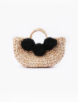 Water Hyacinth Basket Bag Black