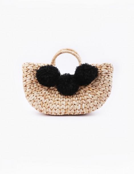 Water Hyacinth Basket Bag Black