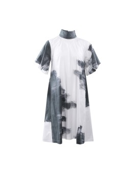 Ardelia Dress White Abstract