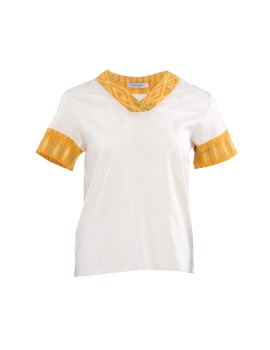 Alayla Tenun Combination Top Yellow, White